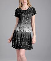 Aster Black & Gray Floral Drop-Waist Dress - Plus Too