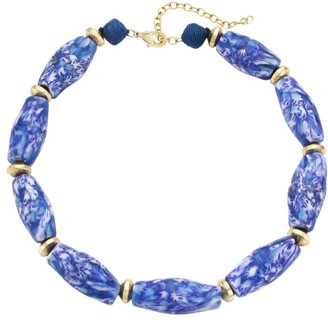Akola Marbled Glass & Raffia Statement Choker Necklace