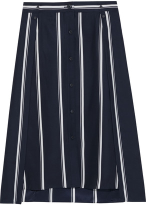 Rag & Bone Debbie Layered Striped Silk Crepe De Chine Skirt