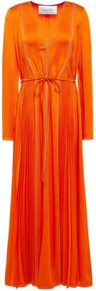 Valentino Pleated Satin-crepe Maxi Dress