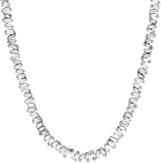 Suzanne Kalan Mini Baguette White Diamond Tennis Necklace - White Gold