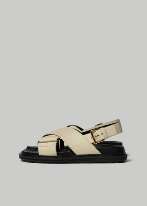 Marni Women's Leather Cross Sandal in Silk White Size 36 Leather/Rubber/Textile