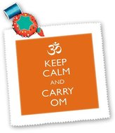 3dRose LLC EvaDane - Funny Quotes - Keep calm and carry om - Quilt Squares - (qs_159552_10)