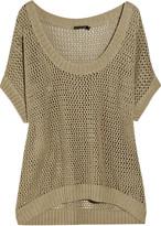 Donna Karan Open-knit linen and cotton-blend sweater