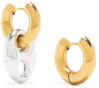 Timeless Pearly Two-Tone Mismatched Earrings