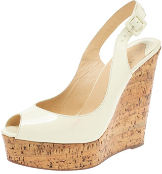 Christian Louboutin White Patent Leather Une Plume Cork Wedge Platform Peep Toe Slingback Sandals Size 39.5