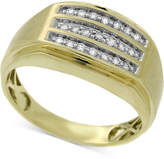 Macy's Men's Diamond Channel-Set Three-Row Ring (1/4 ct. t.w.) in 10k Gold