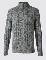 M&S Collection Textured Half Zipped Jumper