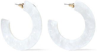 Kenneth Jay Lane Gold-tone Marbled Resin Hoop Earrings