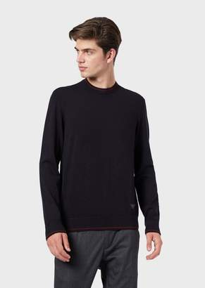 Emporio Armani Plain-Knit Sweater With Contrasting Edges