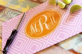 The Well Appointed House Monogrammed Funky Diamond Cutting Board