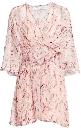 IRO Pommie Paint-Print Ruffle Silk-Chiffon Mini A-Line Dress