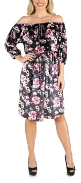24seven Comfort Apparel Women's Floral Off Shoulder Knee Length Velvet Dress