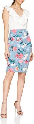 Paper Dolls Women's Cream Ruffle 2 in 1 Printed Skirt Dress