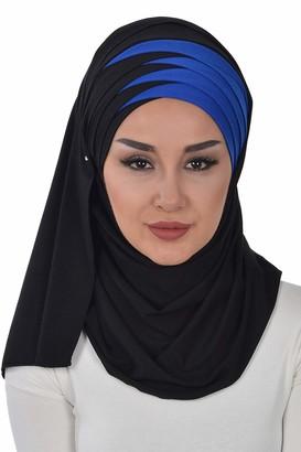 Aisha's Design Jersey Shawl for Women Cotton Wrap Modesty Turban Cap Scarf Black-Sax Blue