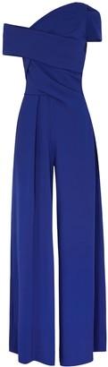Talbot Runhof Risk blue one-shoulder wide-leg jumpsuit