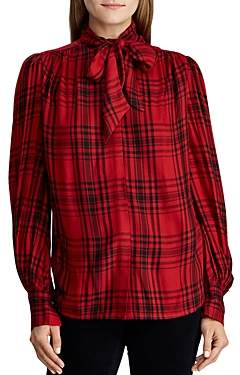 Ralph Lauren Ralph Plaid Tie-Neck Blouse