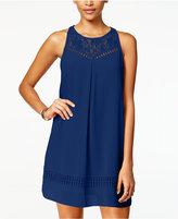 Amy Byer Juniors' Lace-Yoke Crochet Shift Dress