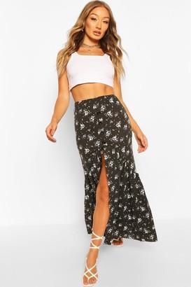 boohoo Ditsy Floral Button Front Drop Hem Maxi Skirt