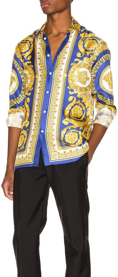 4d4e5c45d3 Printed Silk Shirt in Blue   FWRD