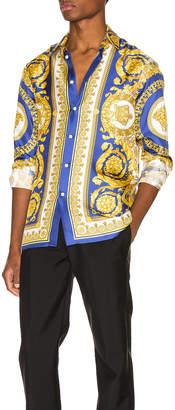 Versace Printed Silk Shirt in Blue | FWRD