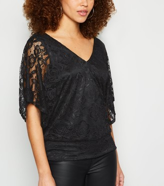 New Look Lace V Neck Batwing Sleeve Top