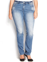 INC International Concepts Plus Size Tummy-Control Medium Wash Straight-Leg Jeans, Only at Macy's