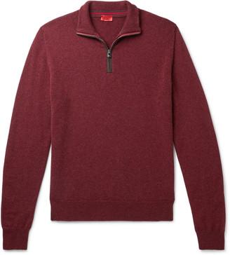 Isaia Suede-Trimmed Cashmere Half-Zip Sweater - Men - Burgundy