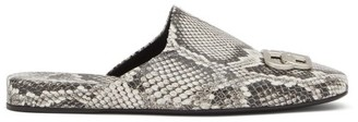 Balenciaga Cosy Bb-plaque Backless Leather Loafers - Python