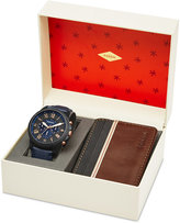 Fossil Men's Chronograph Grant Blue Leather Strap Watch & Leather Card Wallet Box Set 44mm FS5252SET, First at Macy's
