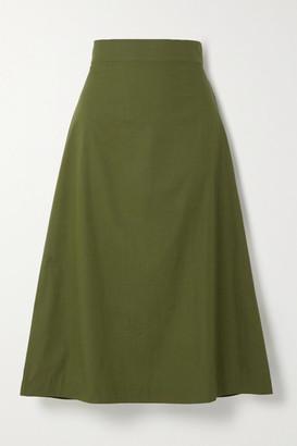 ARoss Girl x Soler Alma Cotton Midi Skirt - Army green