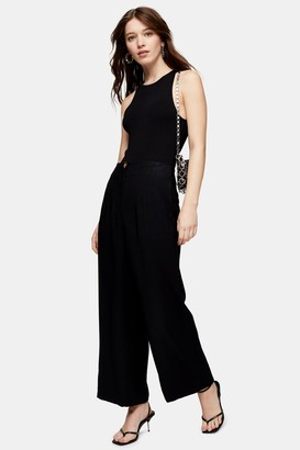 Topshop Womens Black Wide Leg Trousers - Black