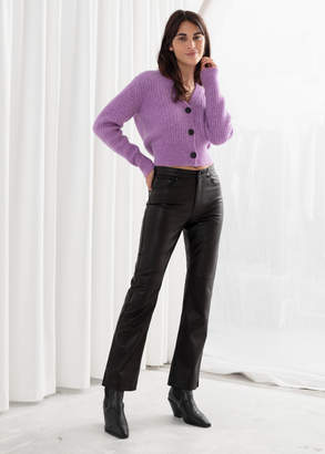 And other stories Leather Kick Flare Trousers