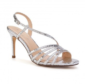 Paradox London Hailey Silver High Heel Snake Print Caged Sandals