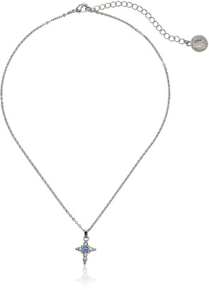 """LIBRARY The Vatican Collection Silver-Tone Light Blue Crystal Cross Pendant Necklace 16"""""""