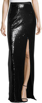 Halston Long Sequined High-Slit Maxi Skirt, Black/White