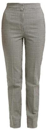 Erdem Emanuelle Checked Silk Blend Trousers - Womens - Black White