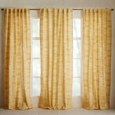west elm Mid-Century Cotton Canvas Etched Grid Curtain - Horseradish