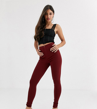 Asos DESIGN Tall high waisted stretch treggings in ponte