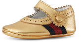 Gucci Baby Lila Leather Mary Jane, Gold, Infant