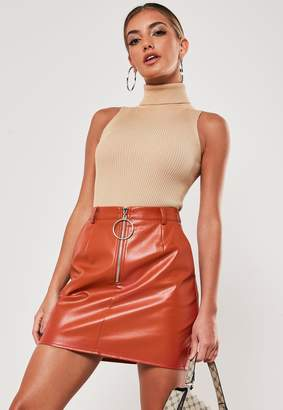 Missguided Terracotta Faux Leather Micro Mini Skirt