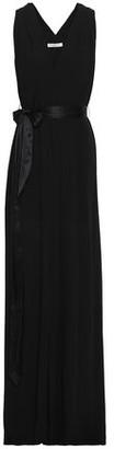 Halston Front-split Belted Crepe De Chine Gown