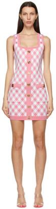 Balmain Pink and White Gingham Jacquard Dress