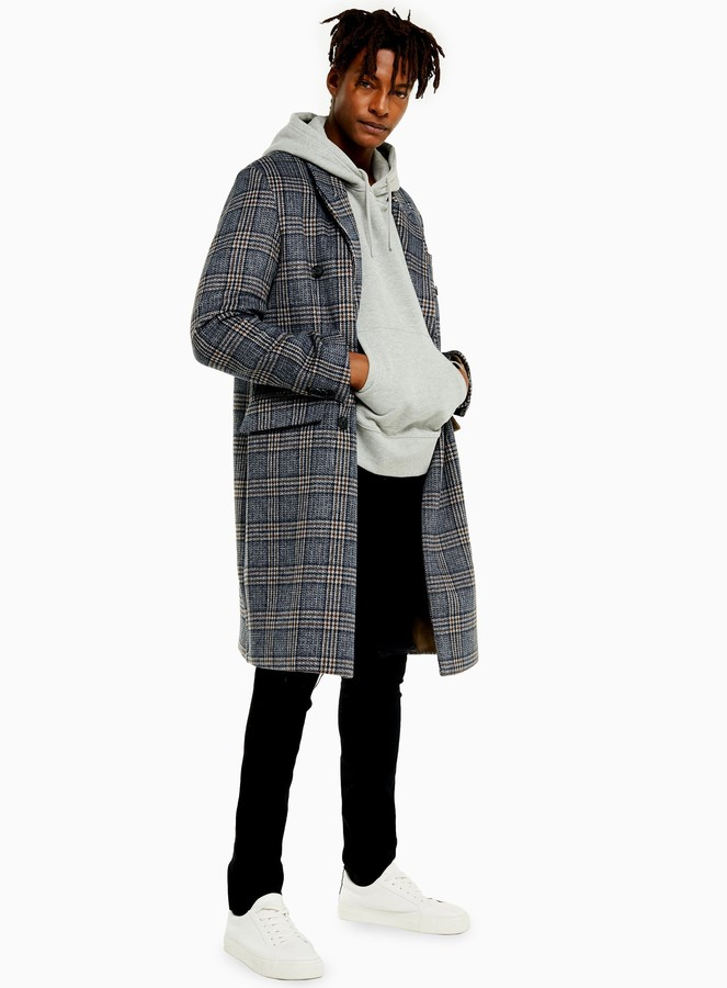 Topman Brown and Blue Check Double Breasted Overcoat
