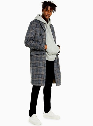 TopmanTopman Brown and Blue Check Double Breasted Overcoat