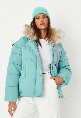 Missguided Tall Sage Ultimate Faux Fur Collar Puffer Jacket