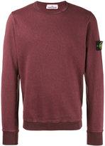 Stone Island Burgundy Crew neck Logo Patch Sweatshirt - men - Cotton - S