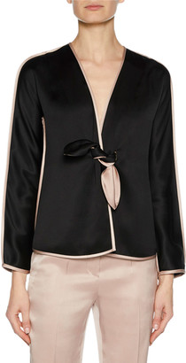 Giorgio Armani Prive Long-Sleeve Tie-Front Silk Satin Jacket with Tie-Waist