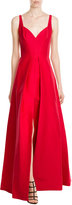 Halston Cotton-Silk Evening Gown with Front Slit