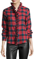 Isabel Marant Awendy Plaid Ruffled Flannel Shirt